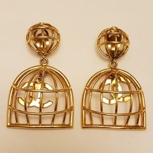 RARE Authentic Vintage Chanel birdcage earrings